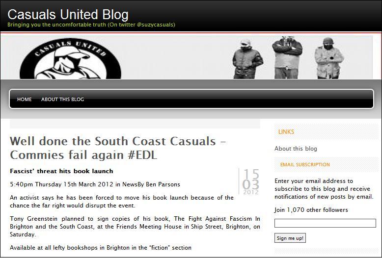 Casuals United threaten Tony Greenstein