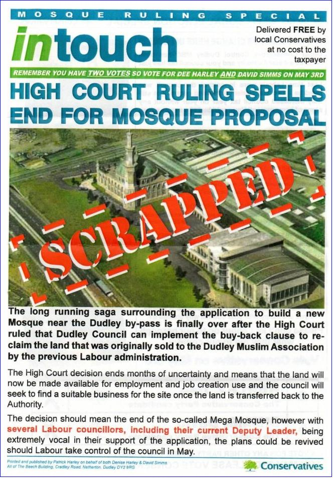 Dudley Tory anti-mosque leaflet