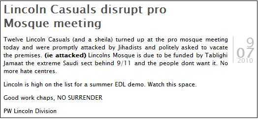 Lincoln Casuals disrupt pro Mosque meeting
