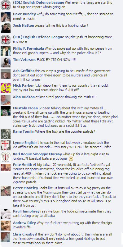 EDL Sunday Times sharia patrols comments