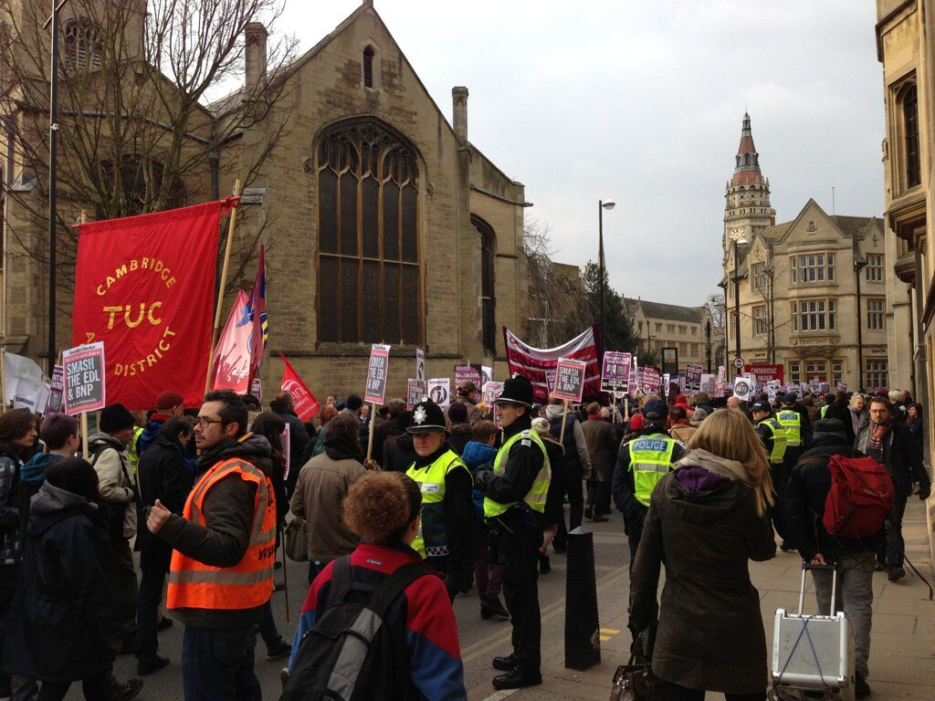 Cambridge anti-EDL demonstration 2013