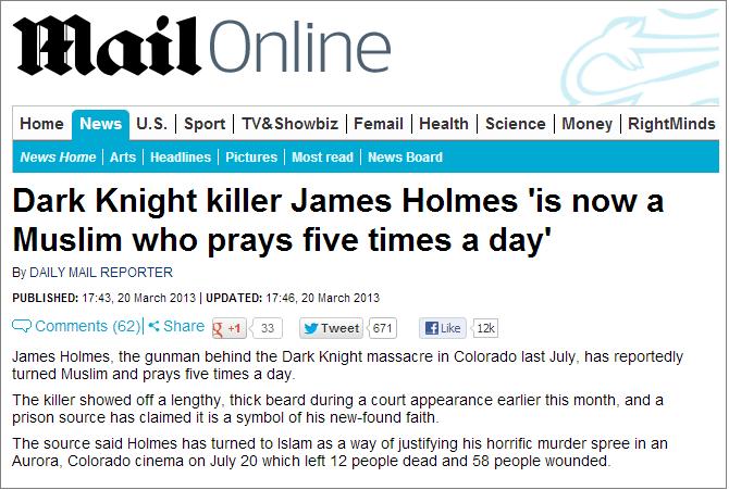 Daily Mail Dark Knight killer headline