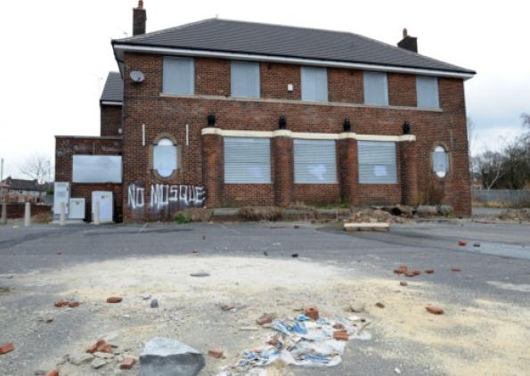 Lingfield mosque site graffiti
