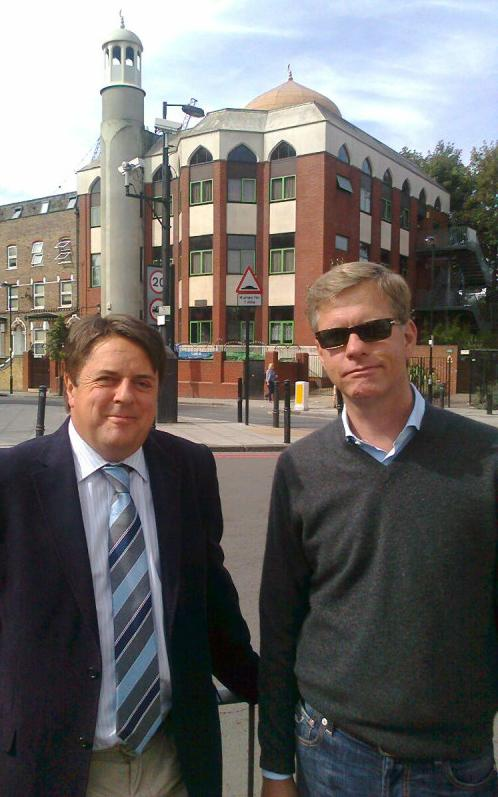 Philip Claeys and Nick Griffin at Finsbury Park mosque