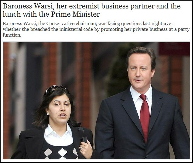 Baroness Warsi extremist business partner
