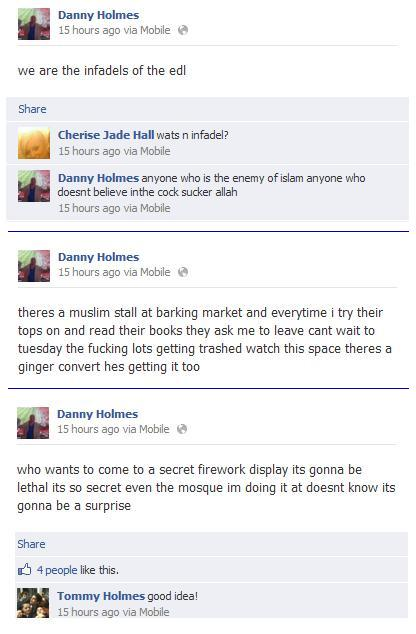 Danny Holmes' Facebook threats