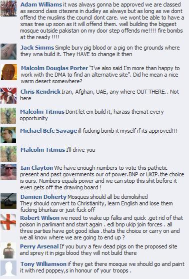 EDL Dudley mosque comments