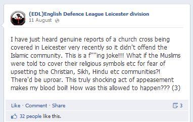 EDL Leicester church cross lie