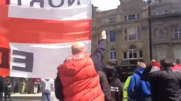EDL Newcastle Nazi salute
