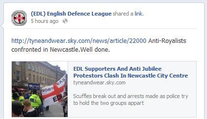 EDL backs attacks on anti-Jubilee protestors