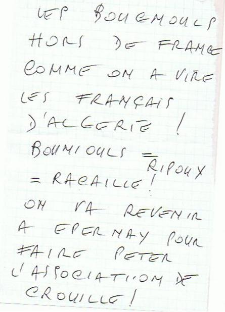 Epernay mosque threatening letter