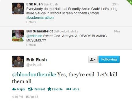 Erik Rush kill Muslims tweet