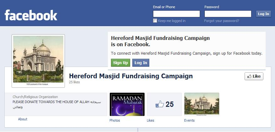 Hereford Masjid Fundraising Campaign Facebook page