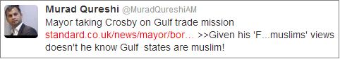 Murad Qureshi Gulf trade mission tweet