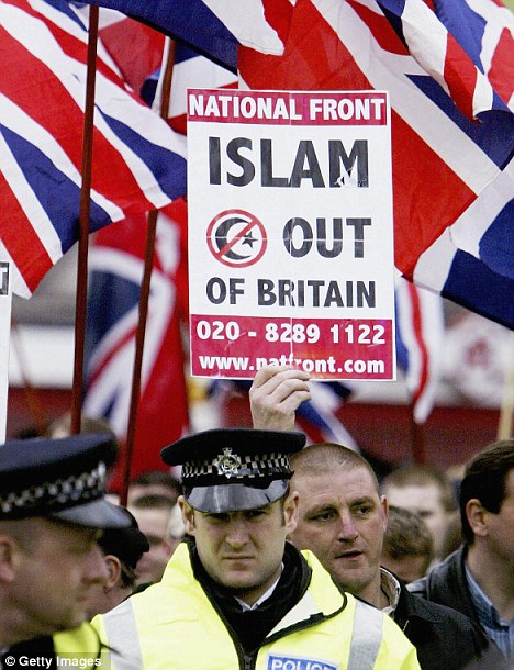 NF Islam Out of Britain placard