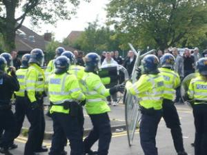 Police and EDL in Dudley