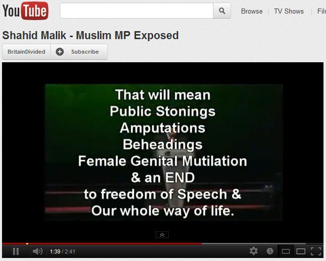 Shahid Malik Muslim MP Exposed