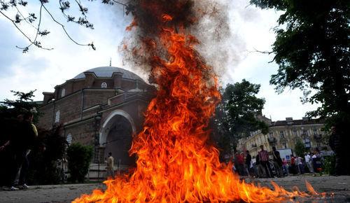 Sofia mosque prayer mat burning