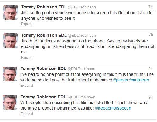 Stephen Lennon Innocence of Muslims tweets