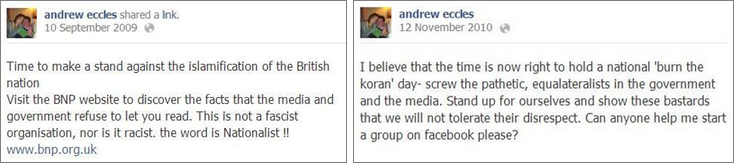 Andrew Eccles Facebook comments