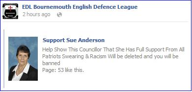 EDL Bournemouth Support Sue Anderson