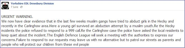 EDL Dewsbury child abduction story