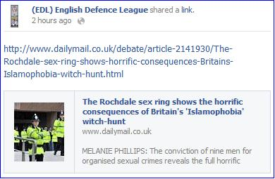 EDL Mad Mel Rochdale article link