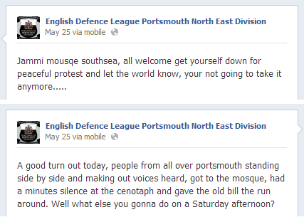 EDL Portsmouth mosque protest