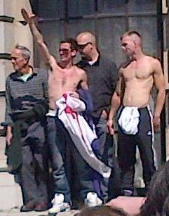 EDL fascist salute at Downing Street demo