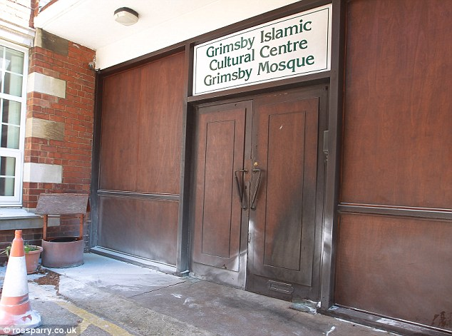 Grimsby mosque scorched door