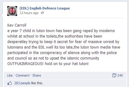 Kevin Carroll spreads gang rape rumour