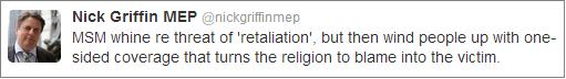 Nick Griffin Woolwich tweet
