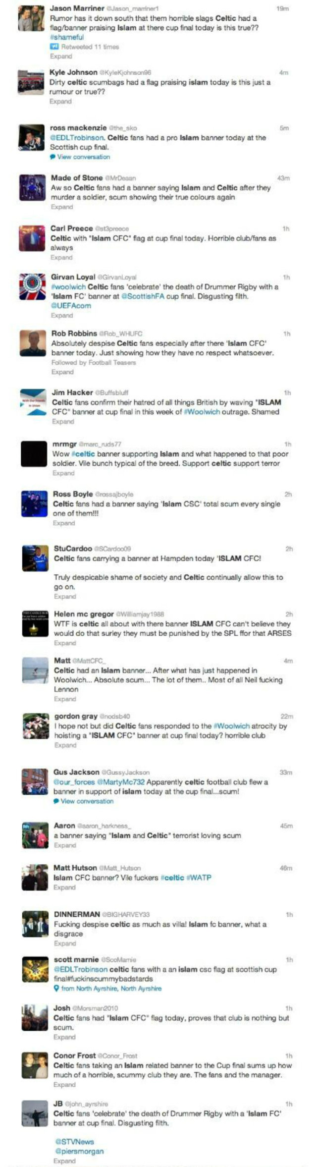 Scottish cup final 'Islam banner' tweets
