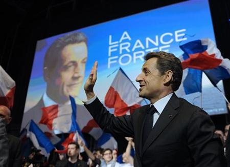 Nicolas Sarkozy, France's President and UMP party candidate for the 2012 French presidential election arrives at a campaign rally in Montpellier