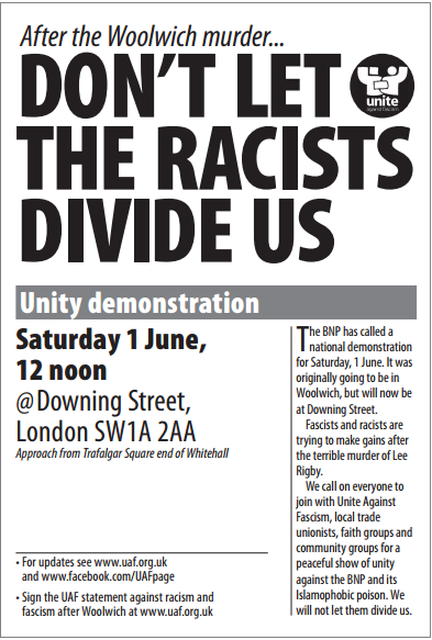 Woolwich unity demonstration flyer (2)
