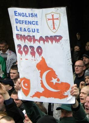 Thousands of far-right supporters of the English Defence League marched in Luton in protest against Sharia law and militant Islam in England. A counter-demonstration was held by the Unite Against Fascism. Luton, UK. 05/02/2011