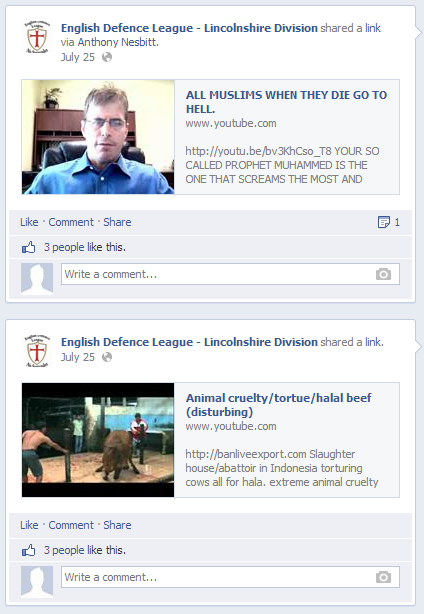 EDL Lincolnshire Division Facebook