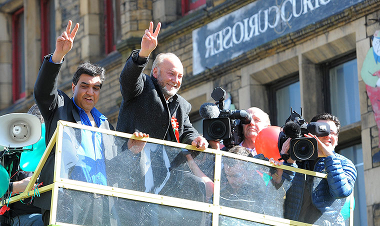 Galloway celebrates after winning the Bradford West by-election