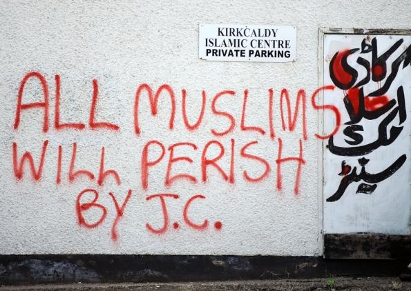 Kirkcaldy Islamic Centre graffiti