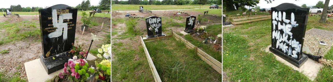 Newport cemetery graffiti