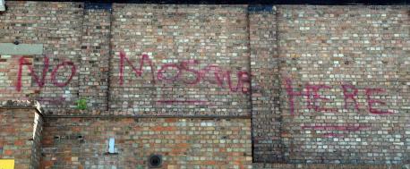 No mosque here graffiti
