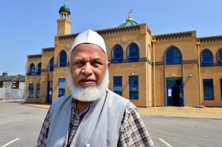 Rana Tufail outside Regent Road mosque