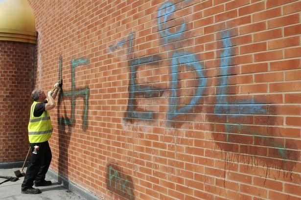Redditch Central Mosque graffiti