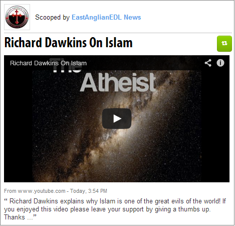 East Anglian EDL recommends Dawkins