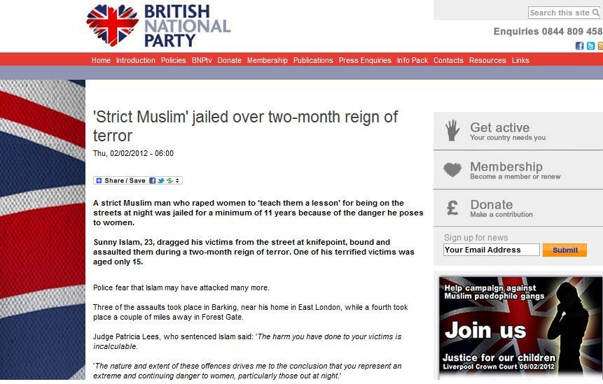 BNP 'strict Muslim' report