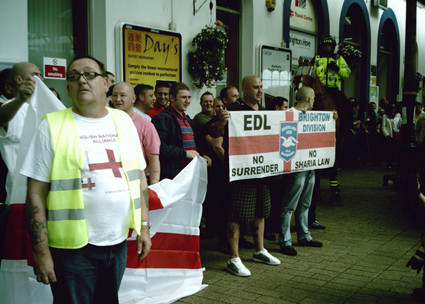 Bill Baker with EDL in Brighton