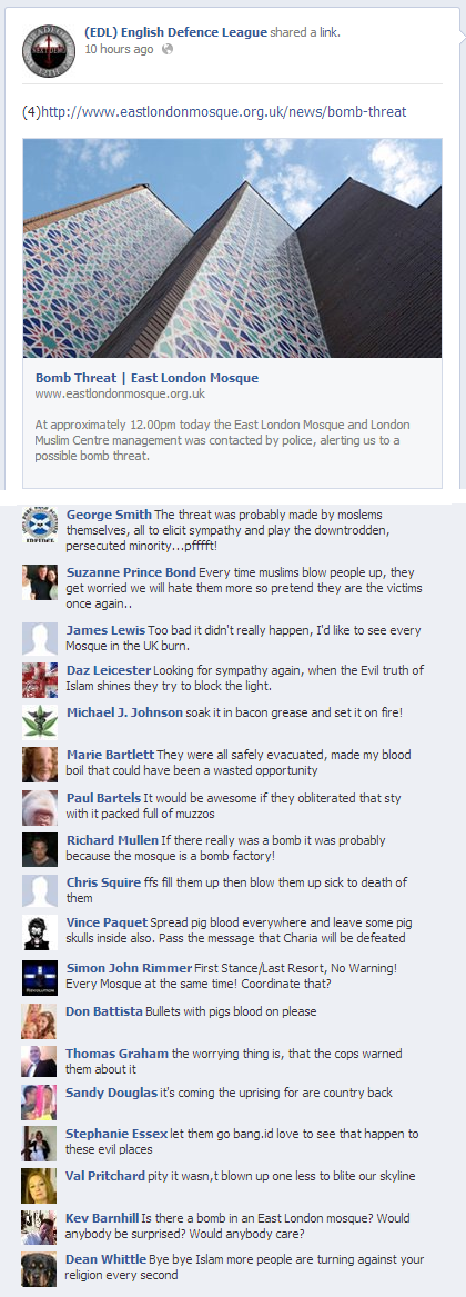 EDL comments on bomb threat to ELM