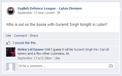 Guramit Singh and EDL leaders in Luton