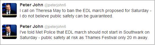 Peter John calls for ban on EDL