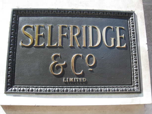 Selfridges nameboard